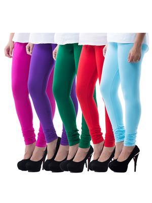 Medha 71618040714 Multicolored Women Legging Set Of 5