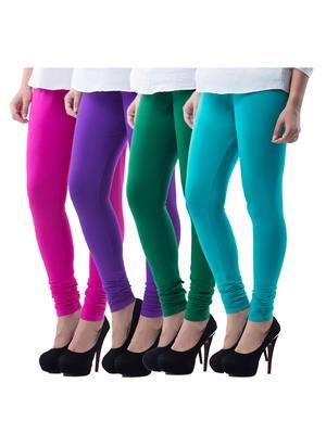Medha 716230428 Multicolored Women Legging Set Of 4