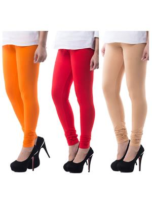 Medha 7200727 Multicolored Women Legging Set Of 3