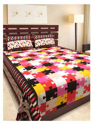 NC Creations NCBS-HHH077 Multicolored Bedsheet With 2 Pillow Covers
