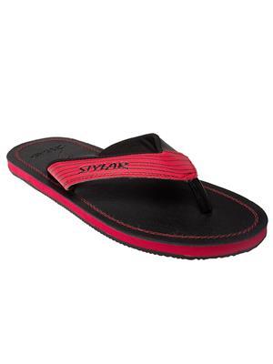 Stylar 800-5611 Black-Red Men Flip Flops