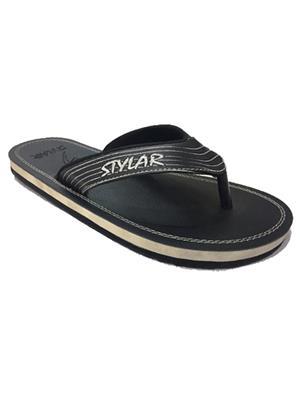 Stylar 800-6611 Black Men Flip Flops