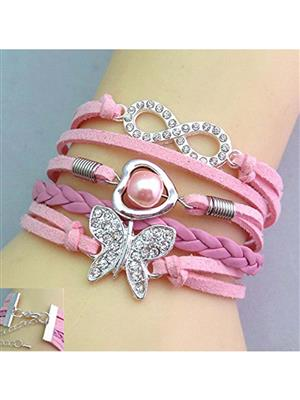 Shreya Collection 835 Fashion  Pink Charm Bracelet with Butterfly Pendant
