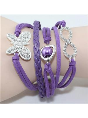 Shreya Collection 835 Fashion  Purple Charm Bracelet with Butterfly Pendant