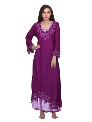 Valentine 8515Prp Purple Women Nighty set