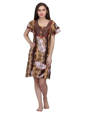 Valentine 8532Chk Brown Women Short Nighty set