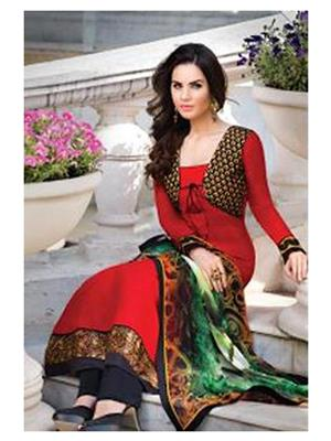 Ethnic Culture 867-22417 Red Women Anarkali Dress Material