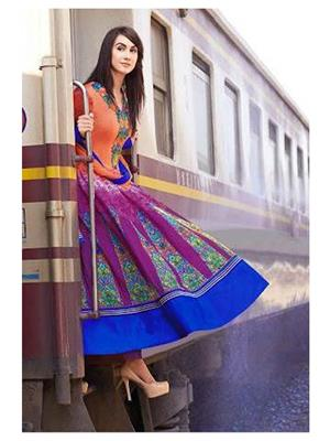 Ethnic Culture 868-22427 Multicolored Women Anarkali Dress Material