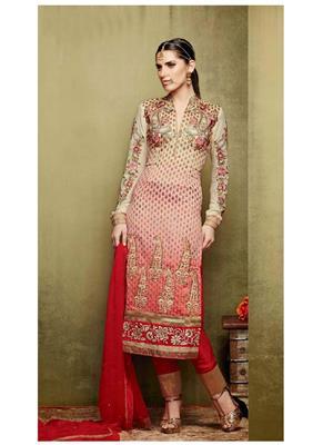 Ethnic Culture 923-23035 Brown Women Dress Material