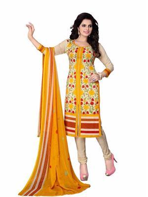 Ganesh 94 Yellow ladies Dress Material