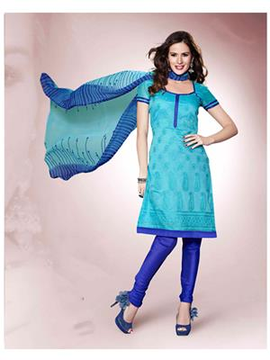Ethnic Culture 999-23946 Blue Women Dress Material