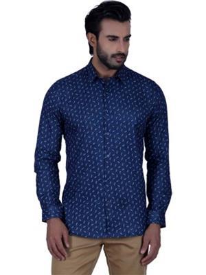 A Chitnis A02 Blue Men Formal Shirts