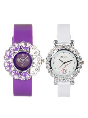 Adine Ad-50001 Purple-White Women Watch Set Of 2