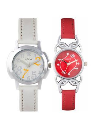 Adine Ad-50003 White-Red Women Watch Set Of 2