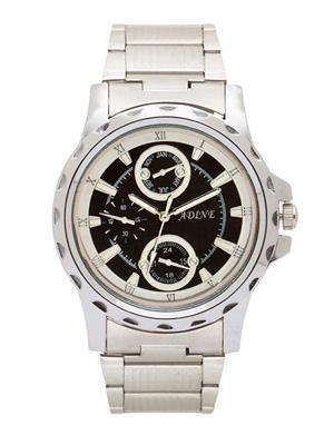 Adine Ad-52006 Silver-Black Men Analog Watch