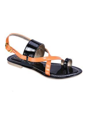 Fashion Mafia AF-7B&OR Black&Orange Women Sandal