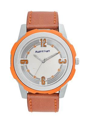 Arzent Fiarti Af1006 Silver-Orange Men Analog Watch