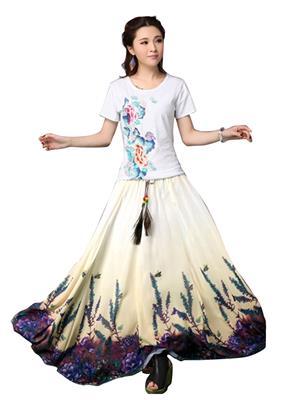 Adorn Fashion AFFST-12 White-Purple Women Skirt