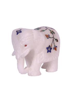 Avinash Handicraft AIELD25  White White Stone Elephant 2.5 inch inlaid Showpiece