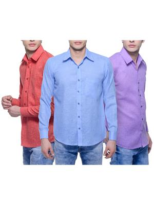 Aligatorr Ali00116 Multicolored Men Casual Shirt Set Of 3