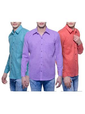 Aligatorr Ali00117 Multicolored Men Casual Shirt Set Of 3