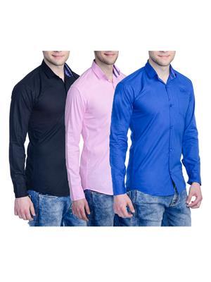 Aligatorr Ali00122 Multicolored Men Casual Shirt Set Of 3