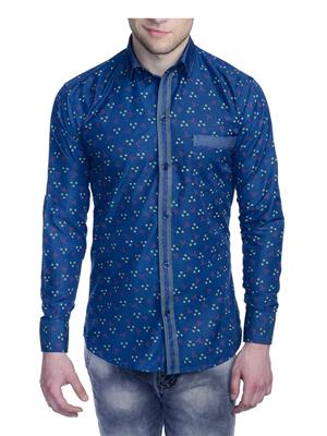 Aligatorr ALI0084 Blue Men Casual Shirt