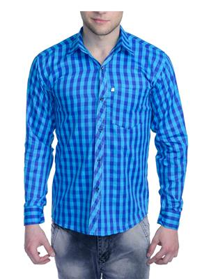 Aligatorr ALI0090 Blue Men Casual Shirt