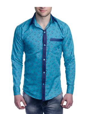 Aligatorr ALI0092 Blue Men Casual Shirt