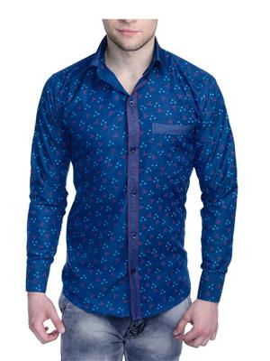 Aligatorr ALI0094 Blue Men Casual Shirt