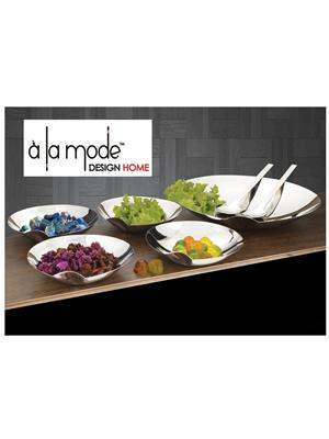 Alamode Design Home Almh42 Silver Serving Set With Thumb Holder