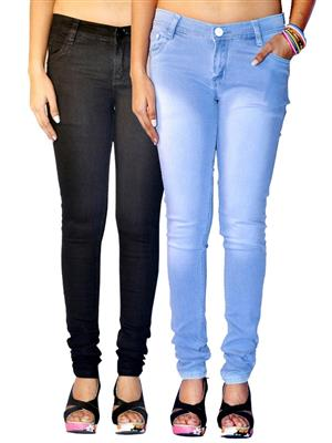 Ansh Fashion Wear AN-WJ-2CM-FADED-BLK-LB Multicolored Women Jeans Pack of 2