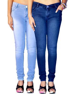 Ansh Fashion Wear AN-WJ-2CM-FADED-LB-DB Multicolored Women Jeans Pack of 2