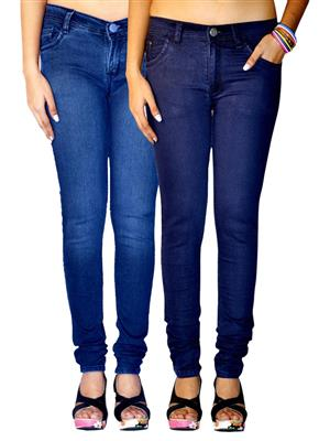 Ansh Fashion Wear AN-WJ-2CM-FD-DB-PLN-DB Multicolored Women Jeans Pack of 2