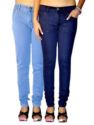 Ansh Fashion Wear AN-WJ-2CM-LB-DB Multicolored Women Jeans Pack of 2