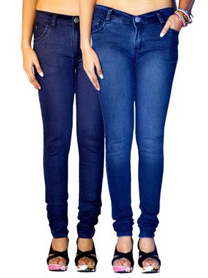 Ansh Fashion Wear AN-WJ-2CM-PLN-DB-FD-DB Multicolored Women Jeans Pack of 2