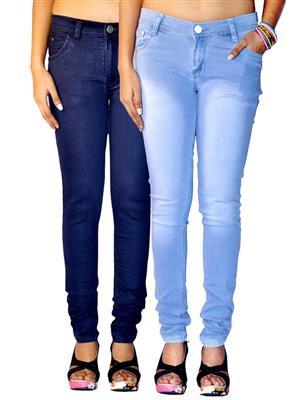 Ansh Fashion Wear AN-WJ-2CM-PLN-DB-FD-LB Multicolored Women Jeans Pack of 2