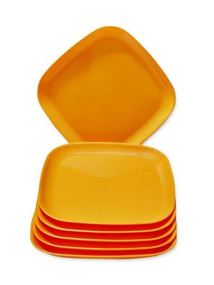 ASP Polyplast ASP-004 Orange Square Quarter Plates 6 Pcs Set