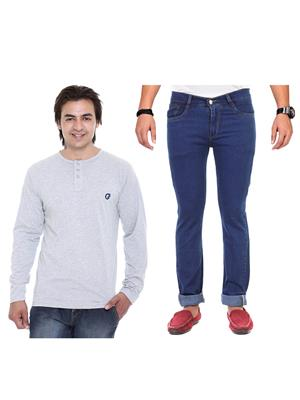 Ave 2Cm-Ht-Gy-As-Jen-12 Multicolored Men Jeans With T-Shirt Set of 2
