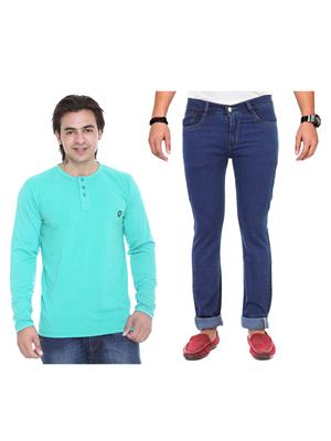 Ave 2Cm-Ht-Lg-As-Jen-12 Multicolored Men Jeans With T-Shirt Set of 2