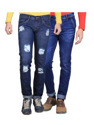 Ave 2CM-JNS-DMG-2-WHSKR-11 Blue Men Jeans Combo