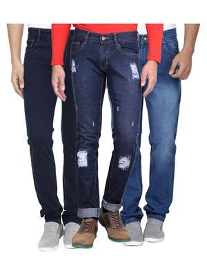 Ave 3Cm-Dnm-Dmg-Fd-8-3-4 Blue Men Jeans Combo Pack