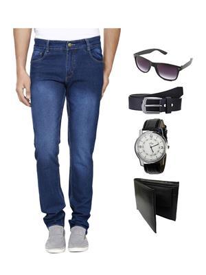 Ave JEN-FDR-4-WPBS Blue Men Jeans With Belt Watch Wallet & Sunglass Combo