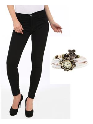 AV-S51-7-GRL-JNS-WH-WTCH Black Women Jeans With Watch Combo