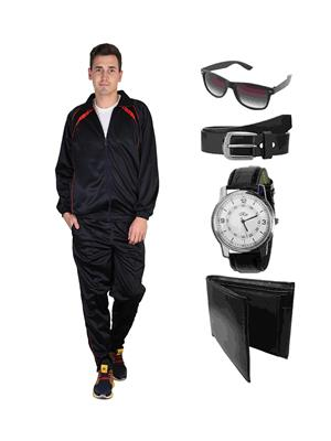 Ave Trksut-Wpbs Black Men Tracksuit With Classic Belt, Wallet, Watch & Sunglasses Combo Pack