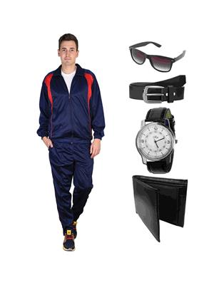 Ave Trksut-Wpbs Blue Men Tracksuit With Classic Belt, Wallet, Watch & Sunglasses Combo Pack