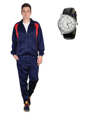 Ave Trksut-Wtch Blue Men Tracksuit-Classic  Watch Combo Pack