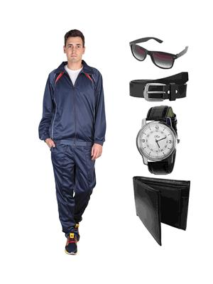 Ave Trksut-Wpbs Grey Men Tracksuit With Classic Belt, Wallet, Watch & Sunglasses Combo Pack