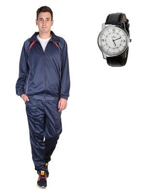 Ave Trksut-Wtch Grey Men Tracksuit-Classic  Watch Combo Pack