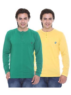 Ave-2Cm-Dg-Yl Multicolored Men T-Shirt Set Of 2